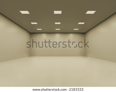 Warm white empty room with smooth homogeneous ceiling lighting. You can place your objects inside
