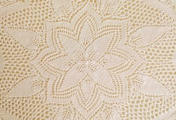 Warm white or beige Vintage knitted lace tablecloth. Crocheted lace tablecloth, handcraft lace texture. abstract  for background. Top view.