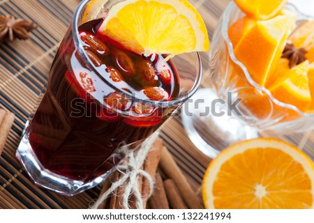 warm wine with almonds and orange, mulled