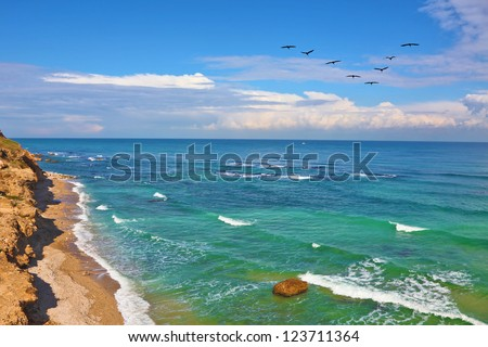 Warm winter in Israel. Stony coast of Mediterranean sea in good weather - stock photo