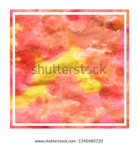 Warm yellow hand drawn watercolor rectangular frame background texture with stains #1340480720
