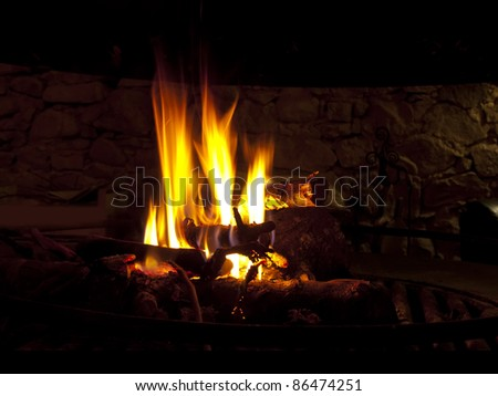 Warming fireplace in winter, at home. Close up of flames and firewood
