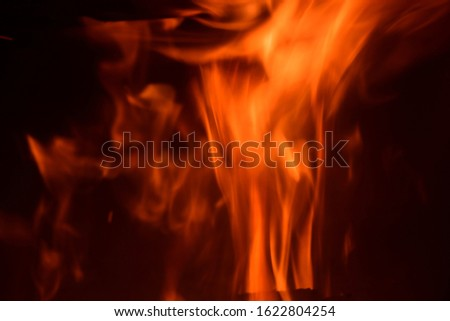 warming log fire in the fireplace in the province of Alicante, Costa Blanca, Spain