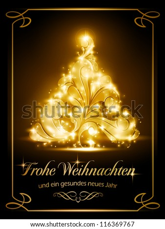 "Warmly sparkling Christmas tree light effects on dark brown background with the text ""Frohe Weihnachten und ein gesundes neues Jahr"", German for ""Merry Christmas and a Happy New Year""."