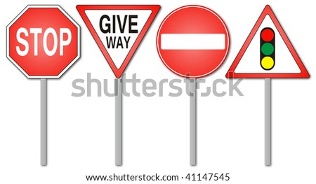 Warning and prohibition traffic signs isolated in white