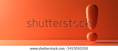 Warning, attention danger concept. Exclamation mark on orange color wall background, banner, copy space. 3d illustration Foto stock ©