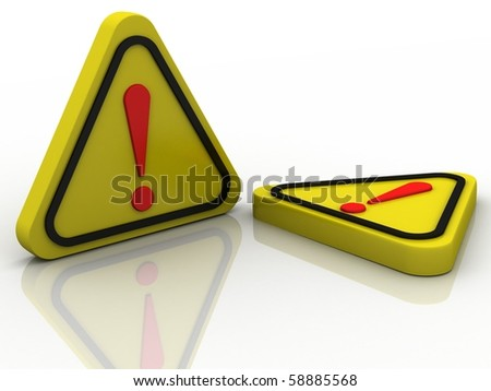 warning attention sign with exclamation mark symbol isolated in white background