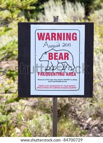 Warning Bear Sign in Grand Teton National Park, Wyoming