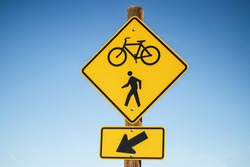 Warning crosswalk and  bicycle sign icon. Sign yellow bicycle sign.