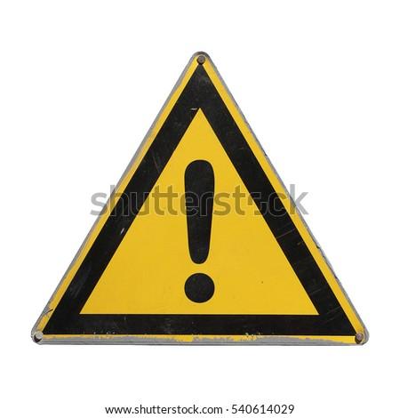 warning danger. yellow triangle....