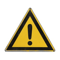 Warning danger. Yellow triangle. Sign  isolated on white background