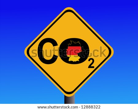 warning German CO2 emissions sign illustration JPG - stock photo