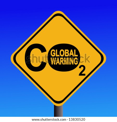 warning Global warming CO2 emissions sign illustration JPG