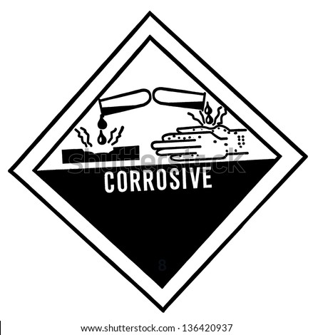 warning label of corrosive, destroys living tissue on contact, hazard symbol or warning sign on white background - stock photo