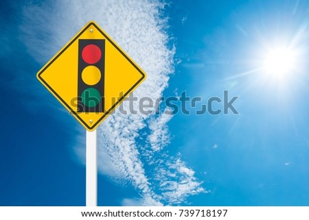Warning label Traffic lights cipping path #739718197