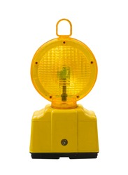 warning light in yellow,Construction site is protected by fence with flashing beacon lights for safety.isolate,on white background.