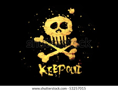 Warning pirate sign keep out with skull & bones isolated on a black background.