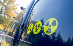 Warning radiation sign, bio-hazard sign and warning sign.