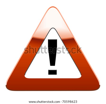 Warning road sign isolated on white background.