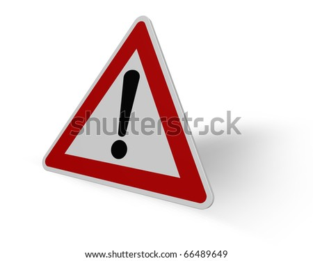 warning roadsign on white background - 3d illustration