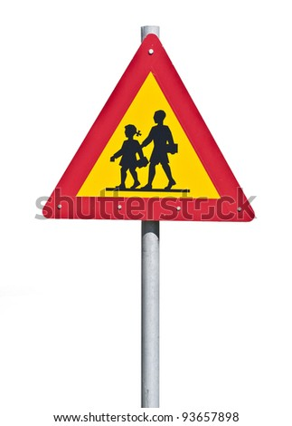 Warning school sign isolated on white