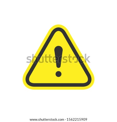 Warning sign and caution concept isolated on white Stock foto ©