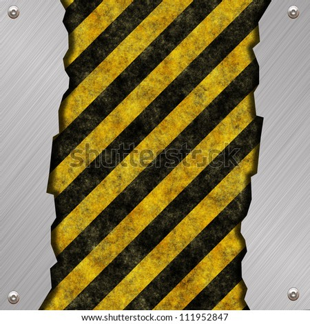 warning sign and metal background