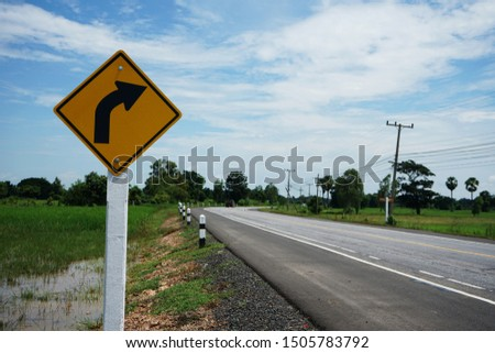 Warning sign for curving road guide #1505783792