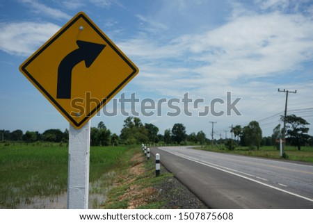Warning sign for curving road guide #1507875608