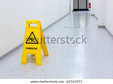Warning sign for slip hazard