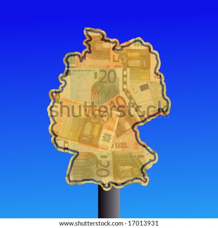 warning sign in shape of Germany with euros