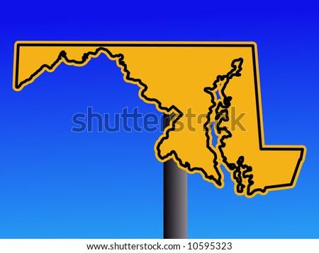 Warning sign in shape of Maryland on blue illustration JPG