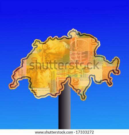 warning sign in shape of Switzerland with Swiss francs - stock photo