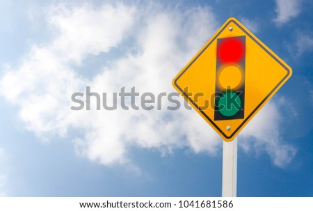Warning sign of red light isolated from sky background #1041681586