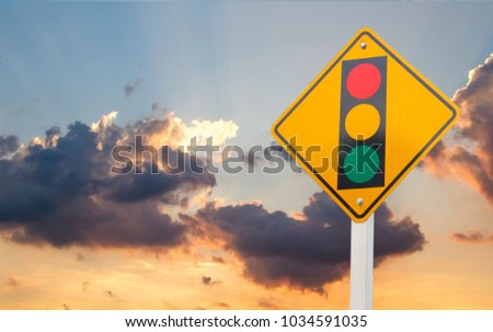 Warning sign of red light isolated on sky background #1034591035