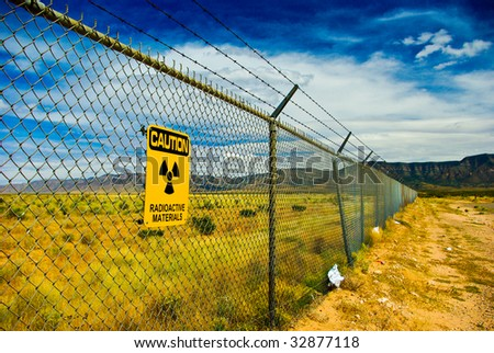 Warning sign on a fence surrounding the Trinity Site in New Mexico where the first nuclear bomb was exploded