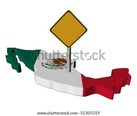 warning sign on Mexico map flag illustration
