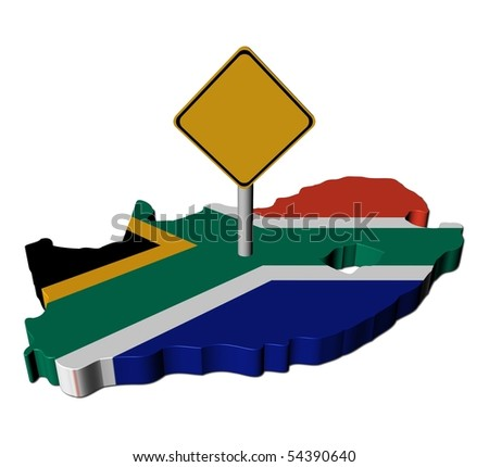warning sign on South Africa map flag illustration - stock photo