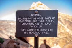 Warning Sign on Syncline Loop Trail in Canyonlands National Park