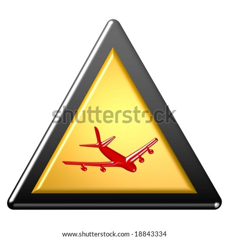 Warning sign - plane - stock photo
