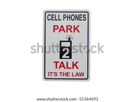 warning sign to ban cell phone use isolated with clipping path at this size