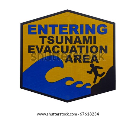 Warning sign - Tsunami Evacuation Area, isolated on white background