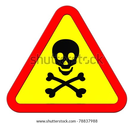 Warning sign with skull symbol isolated on white. Computer generated 3D photo rendering.