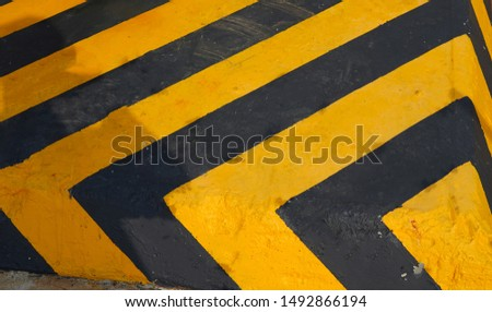 warning striped rectangular background, yellow and black stripes. old paint grunge . attention area diagonal stripes   #1492866194