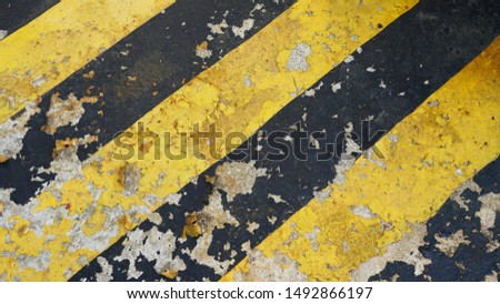 warning striped rectangular background, yellow and black stripes. old paint grunge . attention area diagonal stripes   #1492866197