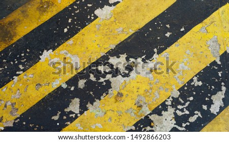 warning striped rectangular background, yellow and black stripes. old paint grunge . attention area diagonal stripes   #1492866203