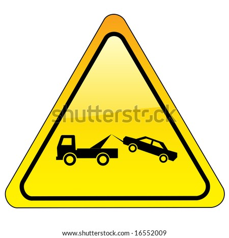 warning tow away zone sign - triangle version