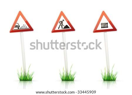 Warning Traffic Sign on White Background