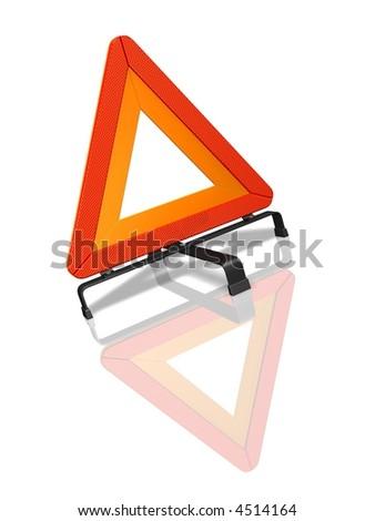Warning triangle over white reflective background