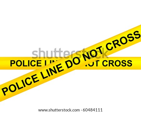 Warning yellow ribbons on white background, Police line do not cross